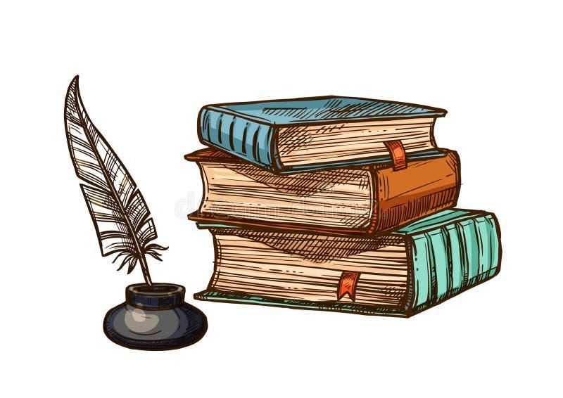 Vector la penna di spoletta della piuma dell'inchiostro e dei vecchi libri royalty illustrazione gratis