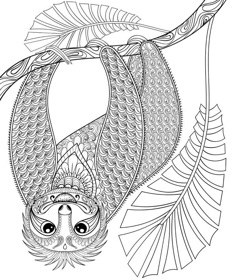Vector la pereza tres-tocada con la punta del pie zentangle que sube en una rama, impresión FO stock de ilustración