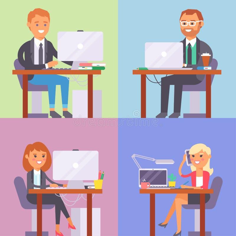 Vector a la persona plana del trabajador del negocio del lugar de trabajo de la gente que trabaja en el ordenador portátil en la  stock de ilustración