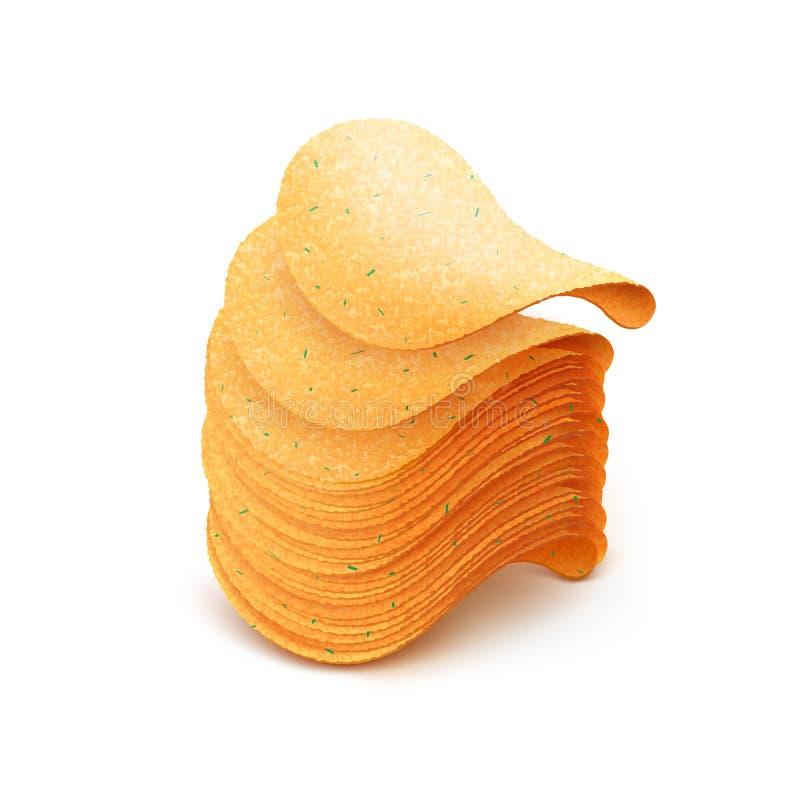 Vector la pila de la patata Chips Close curruscante para arriba en el fondo blanco stock de ilustración