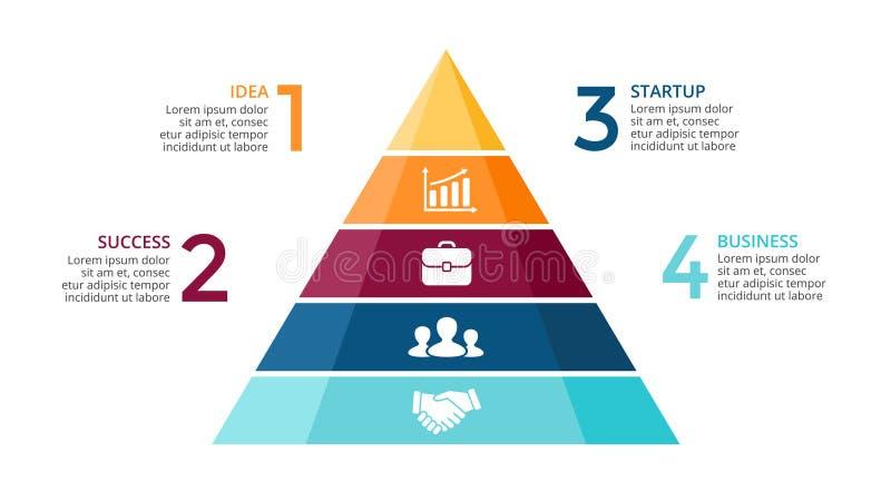 Vector la pirámide encima de las flechas infographic, carta del diagrama, presentación del gráfico del triángulo Concepto de la c libre illustration