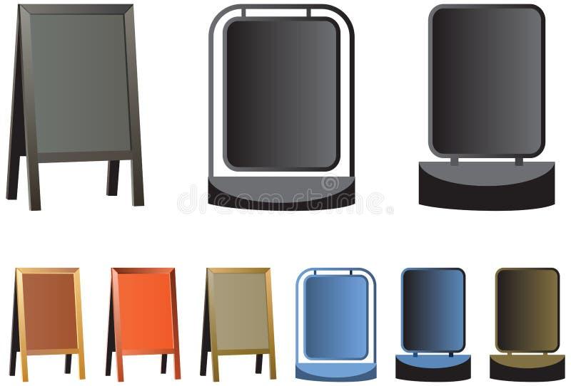 Vector la pizarra, la muestra de la tienda o los tableros de anuncio enmarcados madera tradicional echados a un lado dobles ilustración del vector
