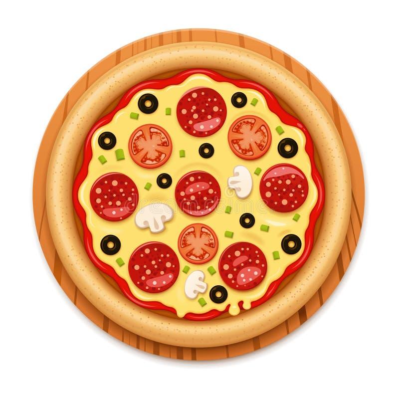Vector la pizza calda dettagliata con l'icona appiccicosa del salame e del formaggio illustrazione vettoriale
