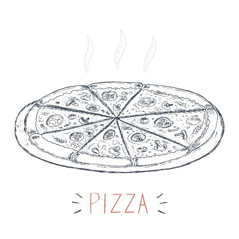 Vector la pizza disegnata a mano su un fondo bianco, scarabocchio di schizzo royalty illustrazione gratis
