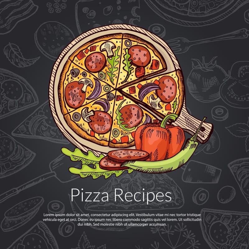 Vector la pizza, el rozmarine, la pimienta y la mano de los salchichones dibujada ilustración del vector