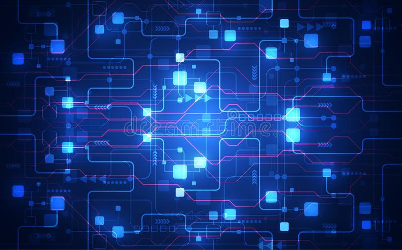 Vector la placa de circuito futurista abstracta, alto color del azul de la tecnología digital del ejemplo libre illustration