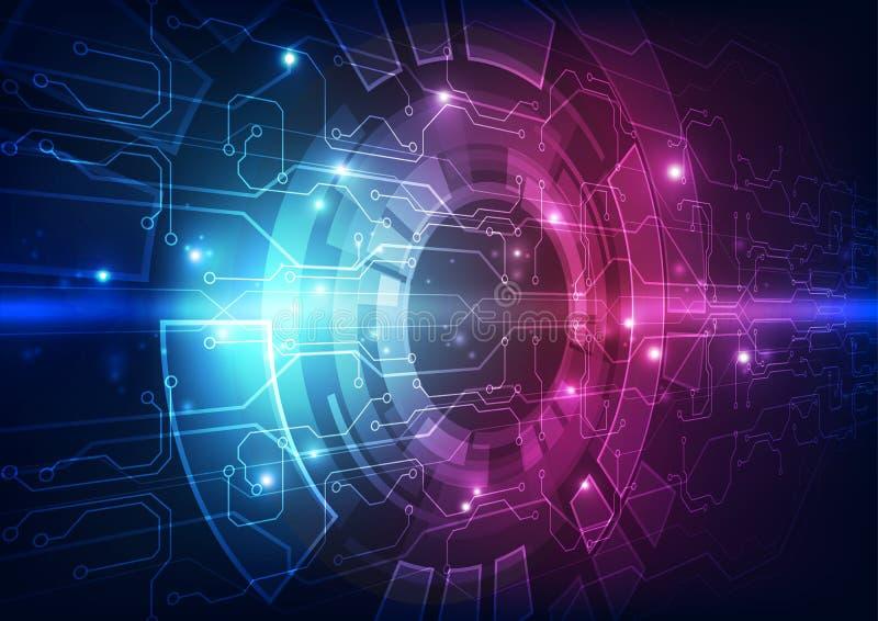 Vector la placa de circuito futurista abstracta, alto color del azul de la tecnología digital del ejemplo stock de ilustración
