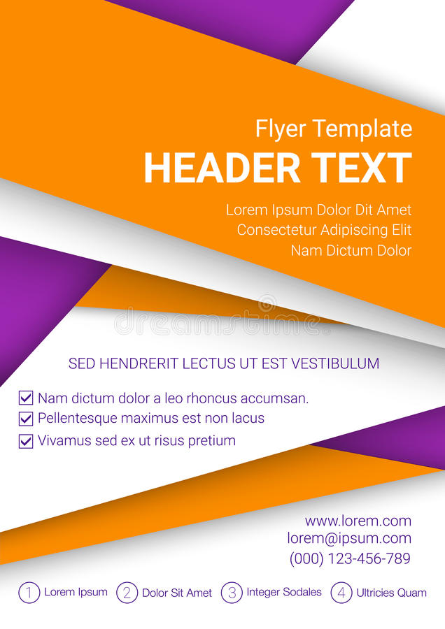 Vector la plantilla anaranjada y blanca del aviador en un fondo púrpura Plantilla moderna del negocio del cartel de tamaño A4 Ilu stock de ilustración