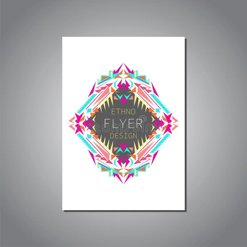 Vector la plantilla colorida geométrica del folleto para el negocio y la invitación Estilo étnico, tribal, azteca libre illustration