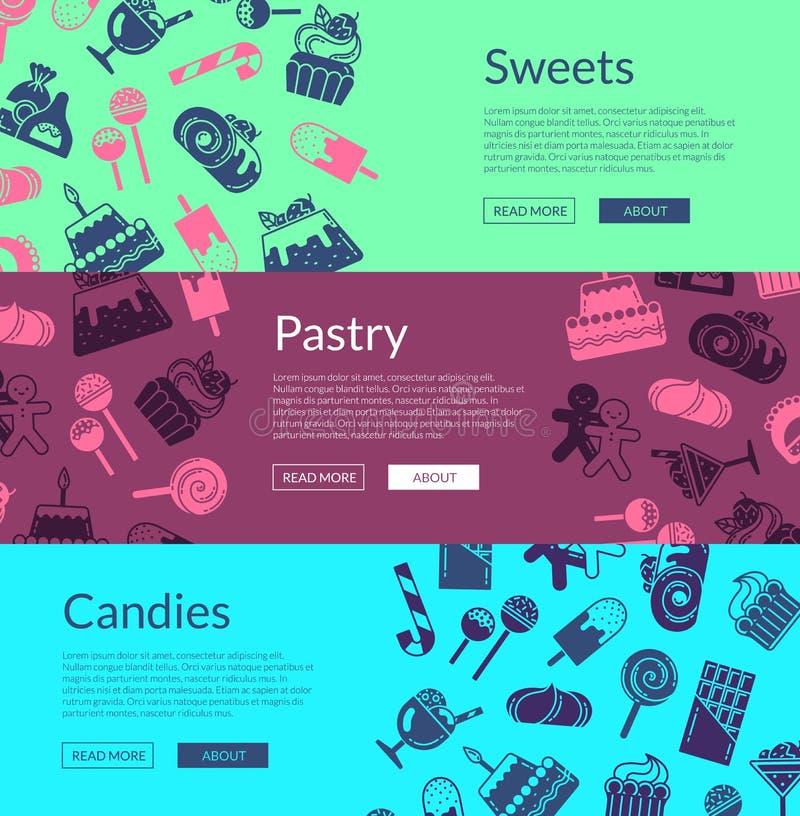 Vector la plantilla de la bandera del web con los iconos planos de los dulces del estilo libre illustration