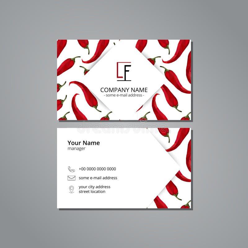 Vector la plantilla de la tarjeta de la visita con el chile de la pimienta del modelo en estilo de la papiroflexia libre illustration