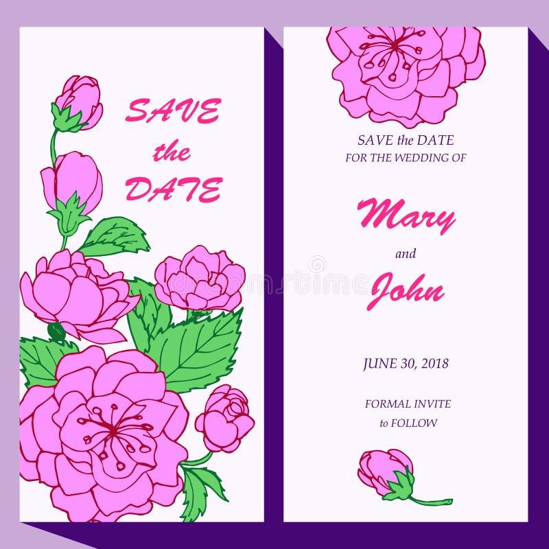 Vector la plantilla de la tarjeta para la reserva la fecha, bebé stock de ilustración