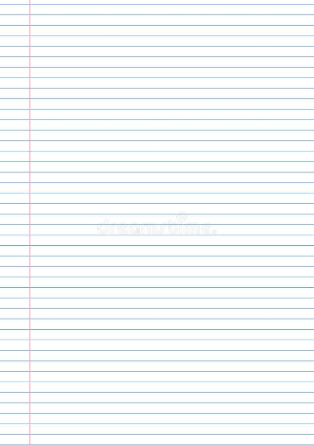 Vector la plantilla de papel del fondo del cuaderno con el fild del lado izquierdo para las notas ilustración del vector