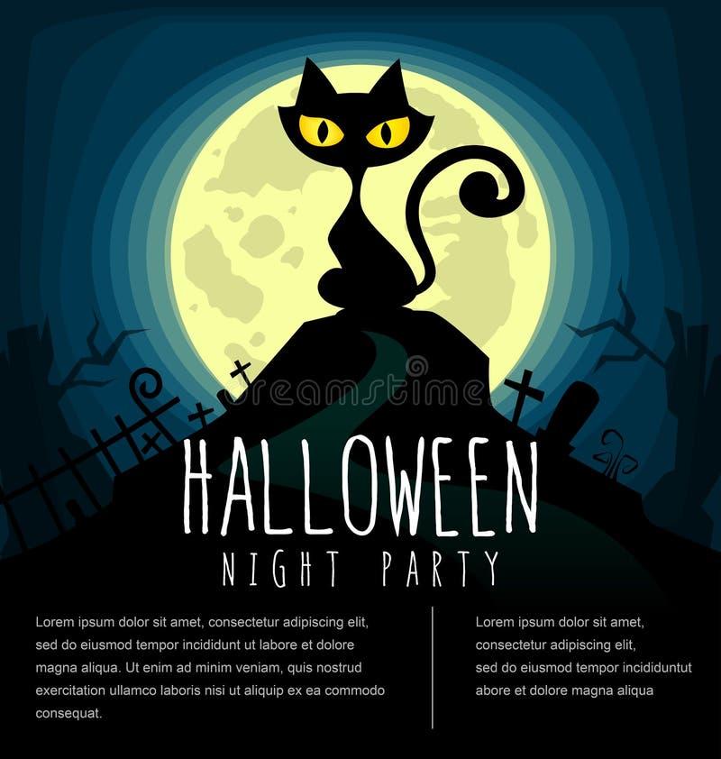 Vector la plantilla de la silueta del gato de Halloween de la historieta con el cementerio y la Luna Llena en noche asustadiza os ilustración del vector