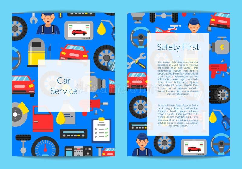Vector la plantilla de la tarjeta, del aviador o del folleto para el servicio auto libre illustration