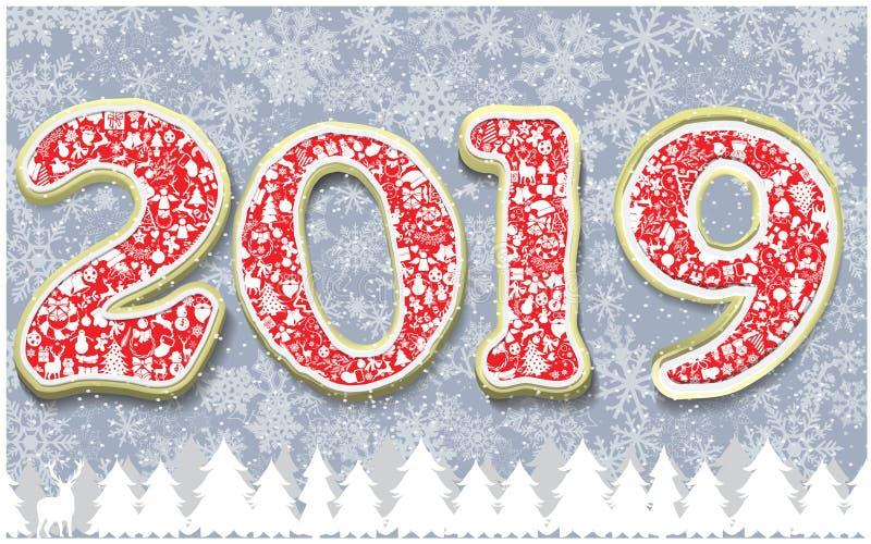 Vector la plantilla 2019 de la tarjeta de felicitación de la Feliz Año Nuevo ilustración del vector