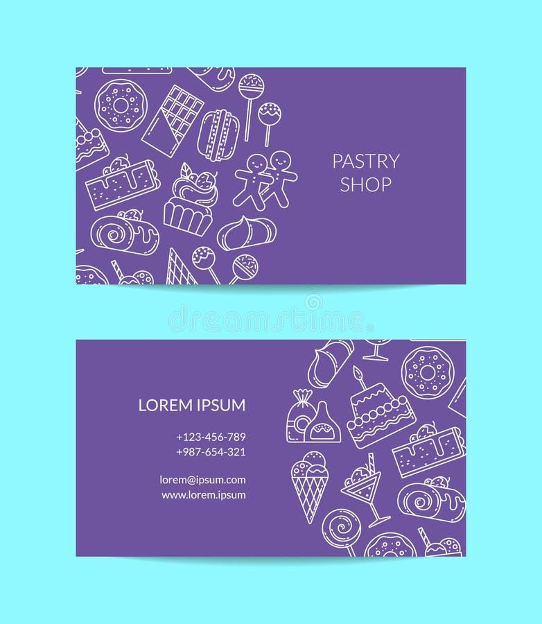 Vector la plantilla de la tarjeta de visita con los iconos lineares de los dulces del estilo para la tienda de pasteles ilustración del vector