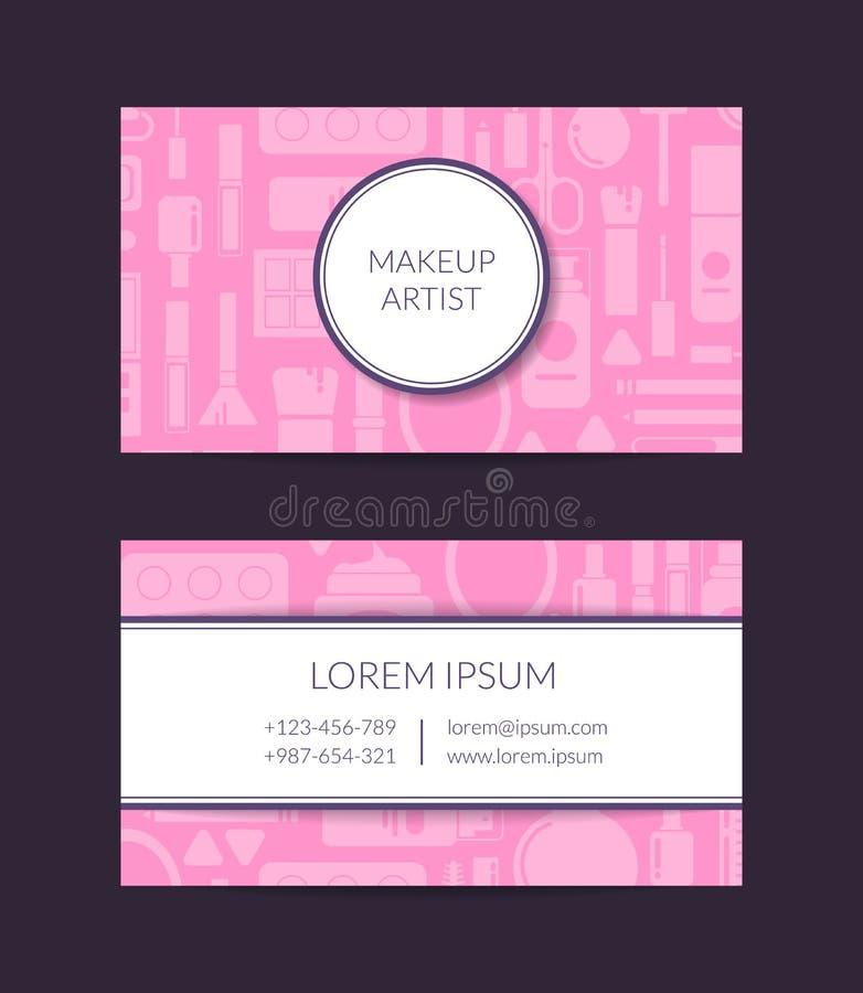 Vector la plantilla de la tarjeta de visita para el artista de la marca o de maquillaje de la belleza con maquillaje y skincare p stock de ilustración