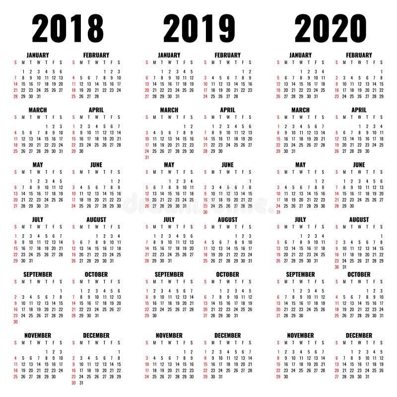 Vector la plantilla del calendario 2018, 2019 y 2020 años ilustración del vector