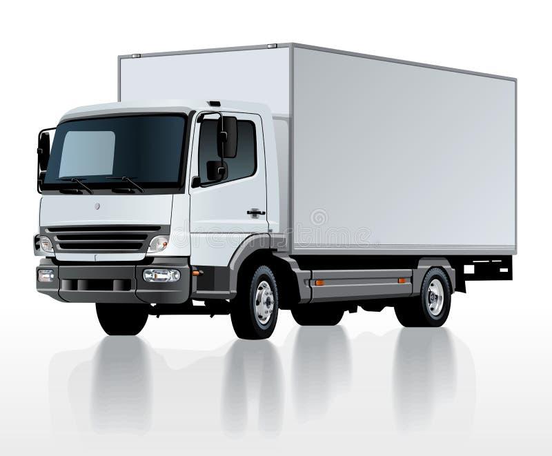 Vector la plantilla del camión del cargo de la entrega aislada en blanco ilustración del vector