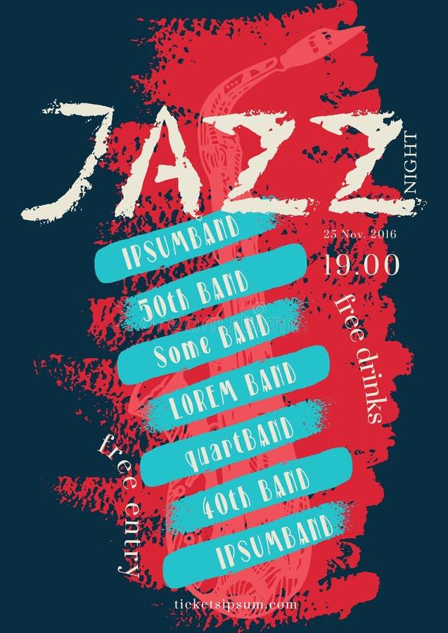 Vector la plantilla del cartel de la música del jazz, de la roca o de los azules libre illustration