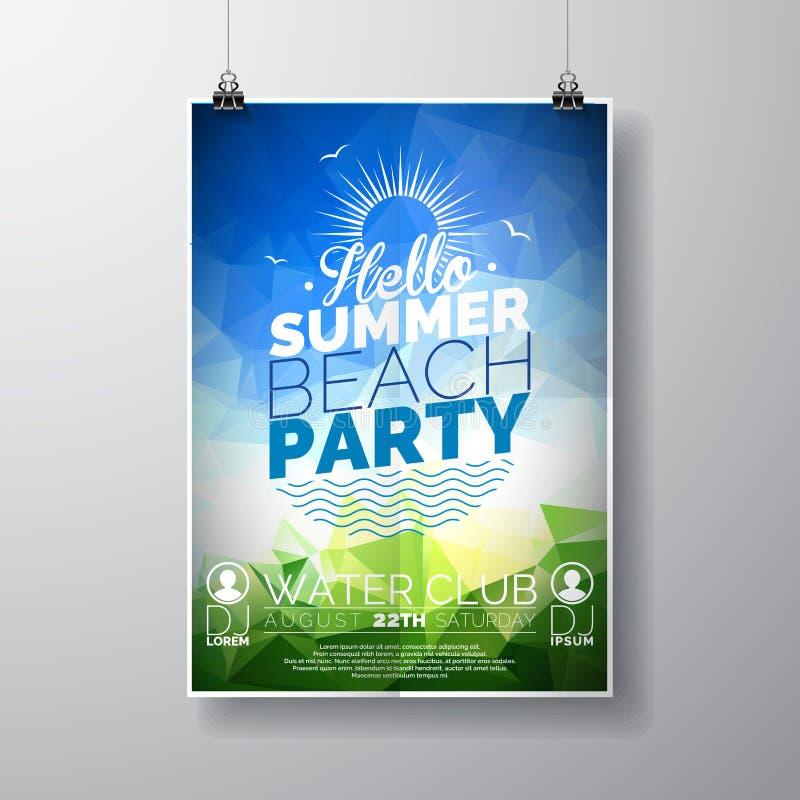 Vector la plantilla del cartel del aviador del partido en tema de la playa del verano con el fondo brillante abstracto ilustración del vector
