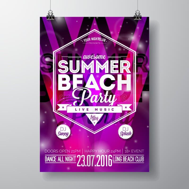 Vector la plantilla del cartel del aviador del partido en tema de la playa del verano con el fondo brillante abstracto libre illustration