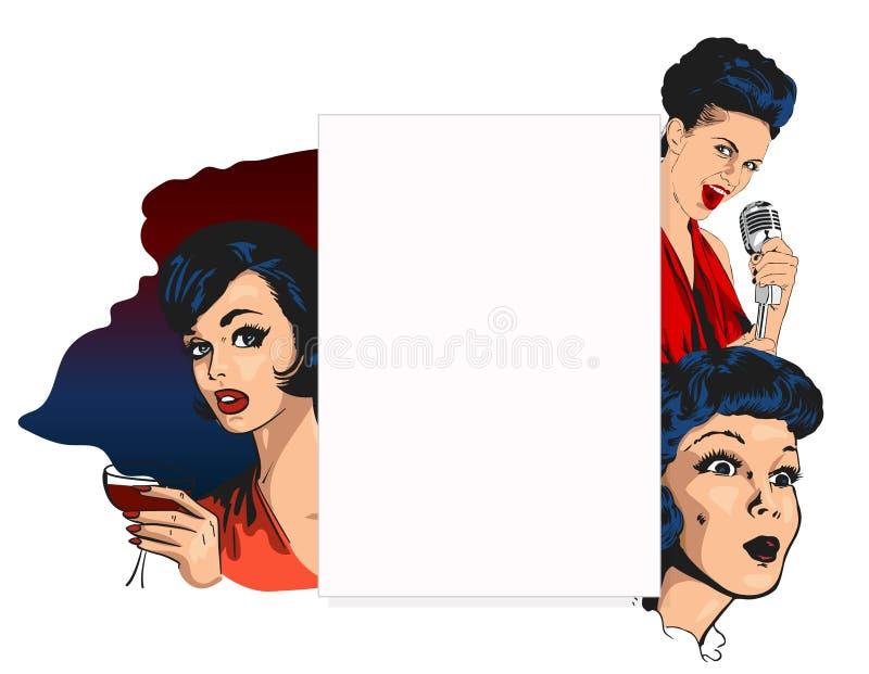 Vector la plantilla del diseño para un club nocturno con las mujeres bonitas, señora del cantante y los cócteles, también copian  stock de ilustración