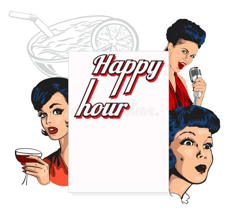 Vector la plantilla del diseño para un club nocturno con las mujeres bonitas, señora del cantante y los cócteles, también copian  ilustración del vector