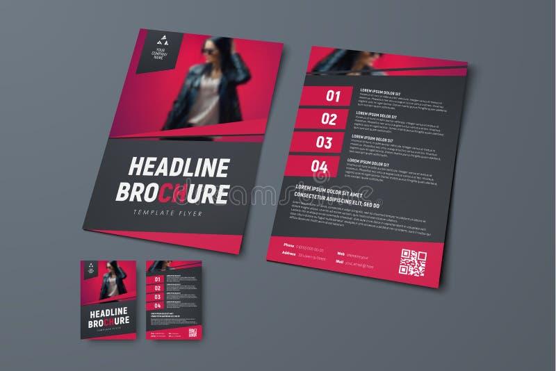 Vector la plantilla del folleto negro con el lugar para la foto libre illustration