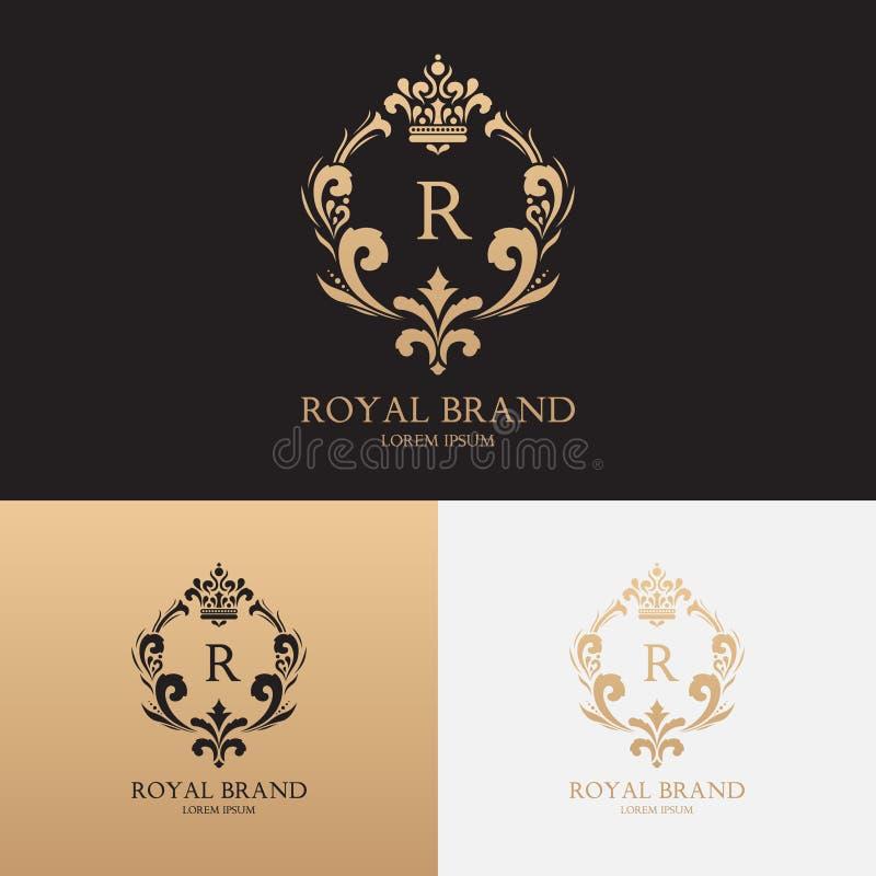 Vector la plantilla del logotipo de la marca de la boutique con la corona y el ornamento floral ilustración del vector