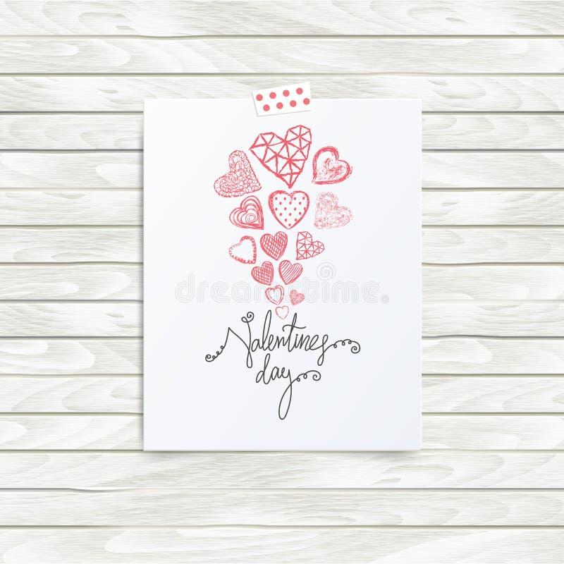 Vector la plantilla del tablero del humor, cita del día de tarjetas del día de San Valentín stock de ilustración