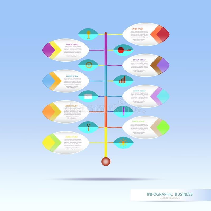 Vector la plantilla infographic con el paso del número 8, circl integrado libre illustration