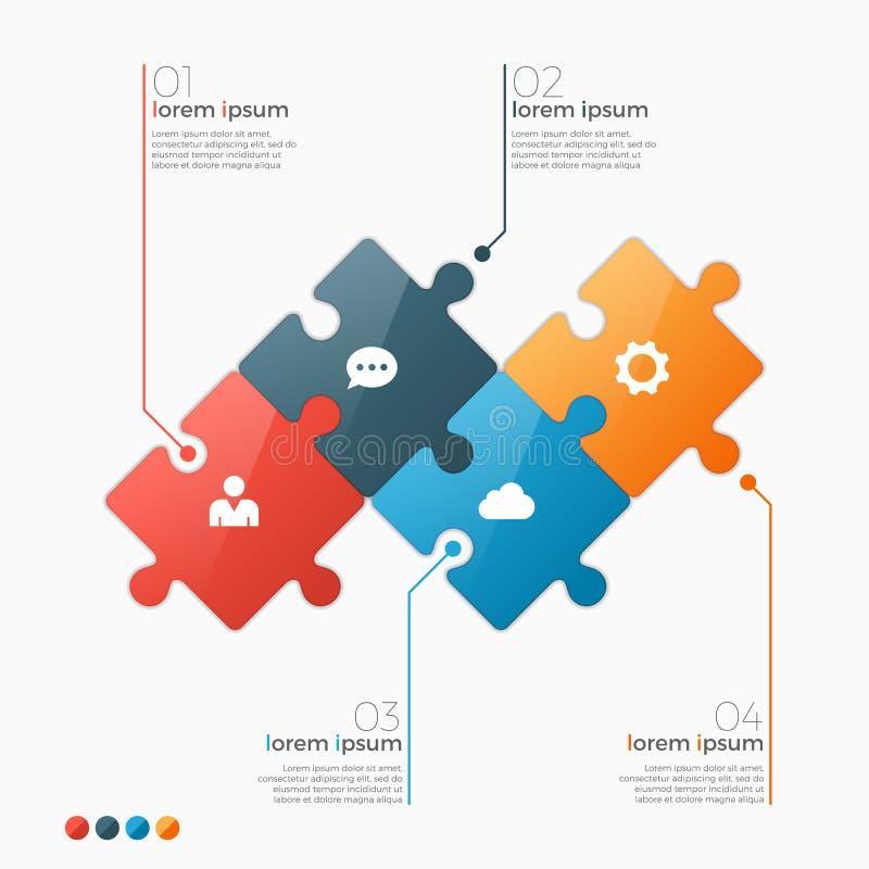 Vector la plantilla infographic de 4 opciones con las secciones del rompecabezas stock de ilustración