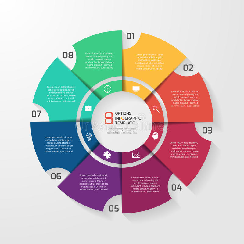 Vector la plantilla infographic del círculo para los gráficos, cartas, diagramas ilustración del vector