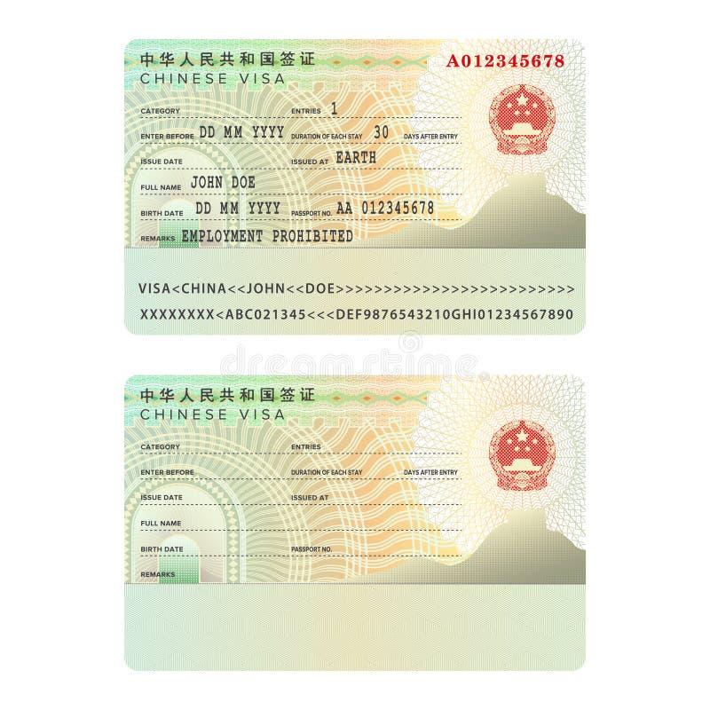 Vector la plantilla internacional de la etiqueta engomada de la visa del pasaporte de China en estilo plano ilustración del vector