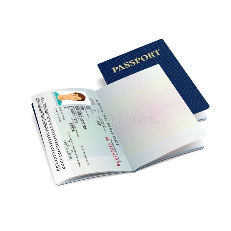 Vector la plantilla internacional del pasaporte con la página personal de los datos de la muestra libre illustration