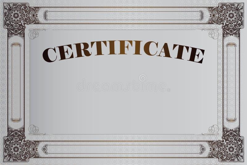 Vector la plantilla para el diseño de certificado, de anuncios, de sobre, de invitaciones o de tarjetas de felicitación ilustración del vector