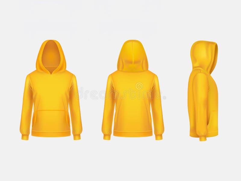 Vector la plantilla realista amarilla de la maqueta del suéter con capucha 3d en el fondo blanco Manga larga de la moda, jersey d ilustración del vector