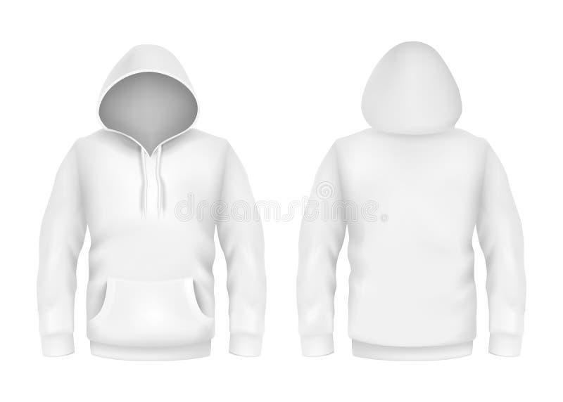 Vector la plantilla realista blanca de la maqueta 3d del suéter con capucha en el fondo blanco Manga larga de la moda, jersey de  ilustración del vector