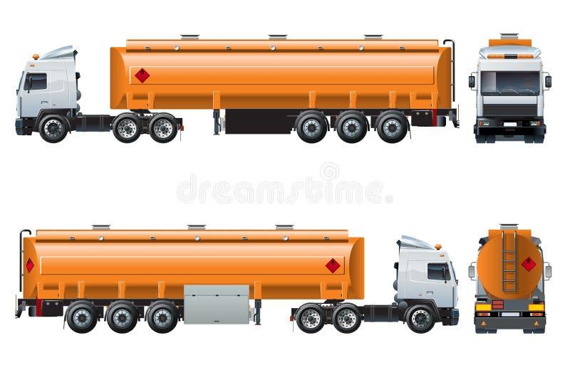Vector la plantilla realista del camión de petrolero aislada en blanco ilustración del vector