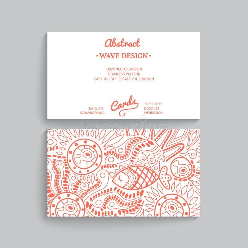 Vector la plantilla simple de la tarjeta de visita con el ornamento decorativo, ilustración del vector