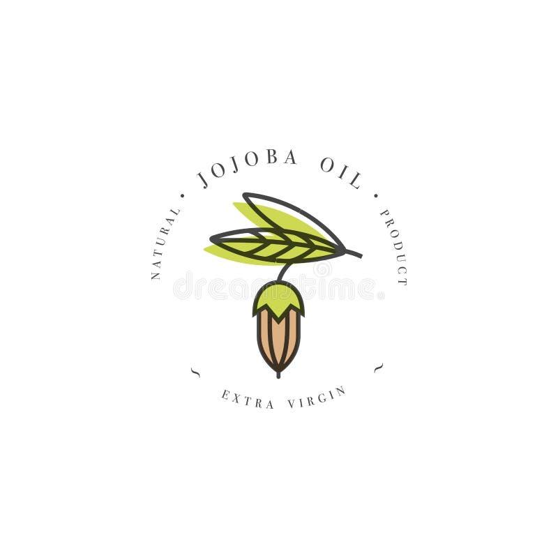 Vector la plantilla y el emblema del diseño de empaquetado - la belleza y los cosméticos engrasan - jojoba stock de ilustración
