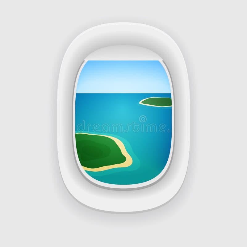 Vector la porta de los aviones, ventana con un destino del viaje stock de ilustración