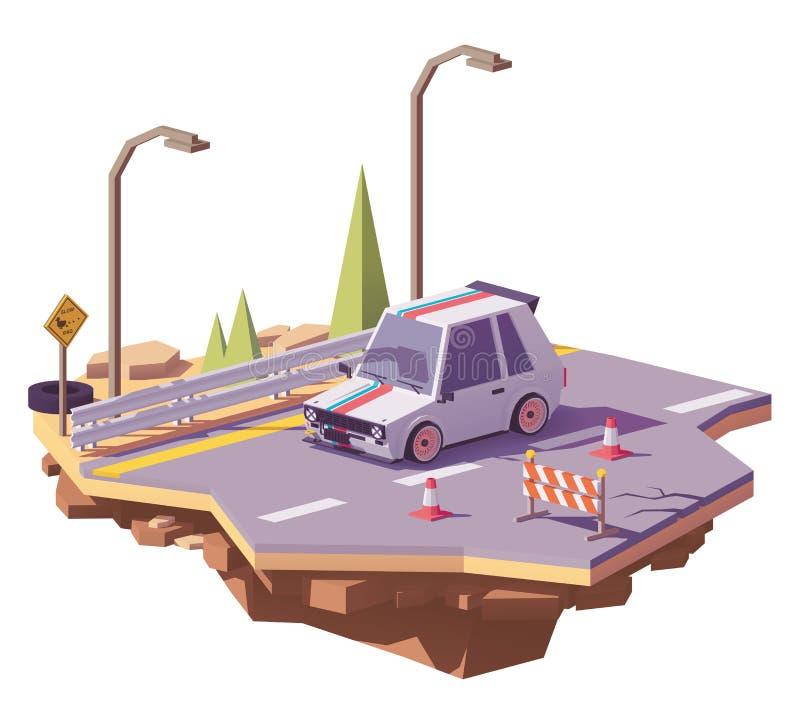 Vector la portilla caliente polivinílica baja en la carretera stock de ilustración