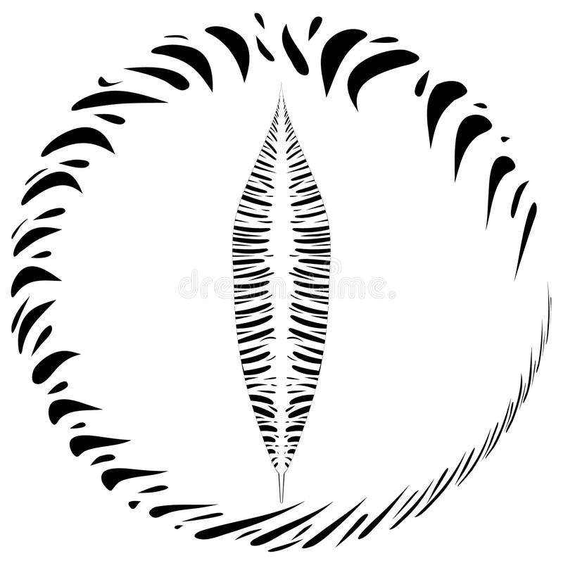 Vector la postal con una pluma en un marco redondo en estilo étnico en a libre illustration