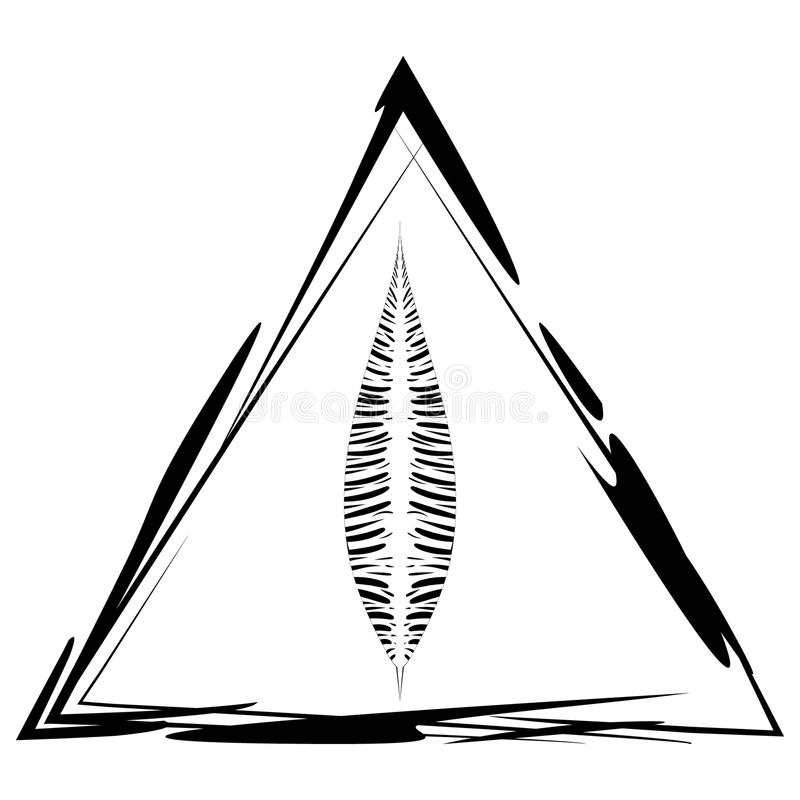 Vector la postal con una pluma en un marco triangular en estilo étnico stock de ilustración