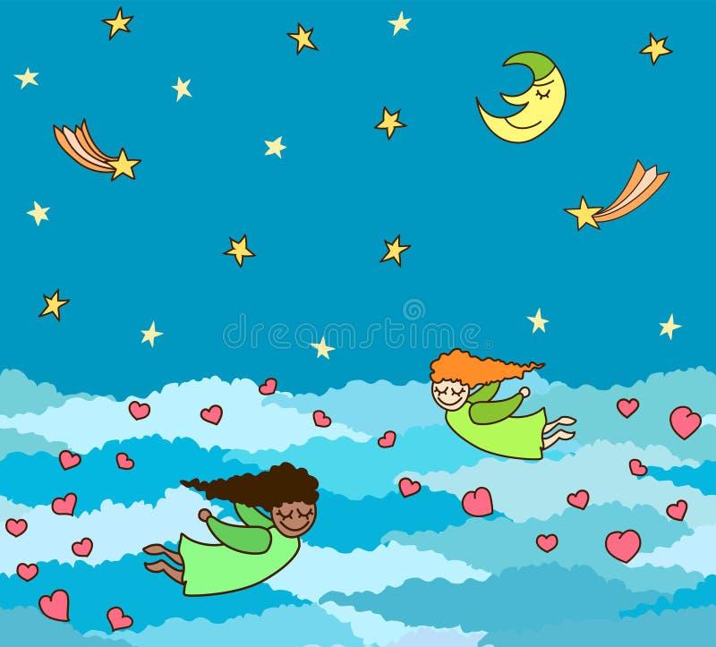 Vector la postal de volar pequeños ángeles con los corazones sobre noche libre illustration