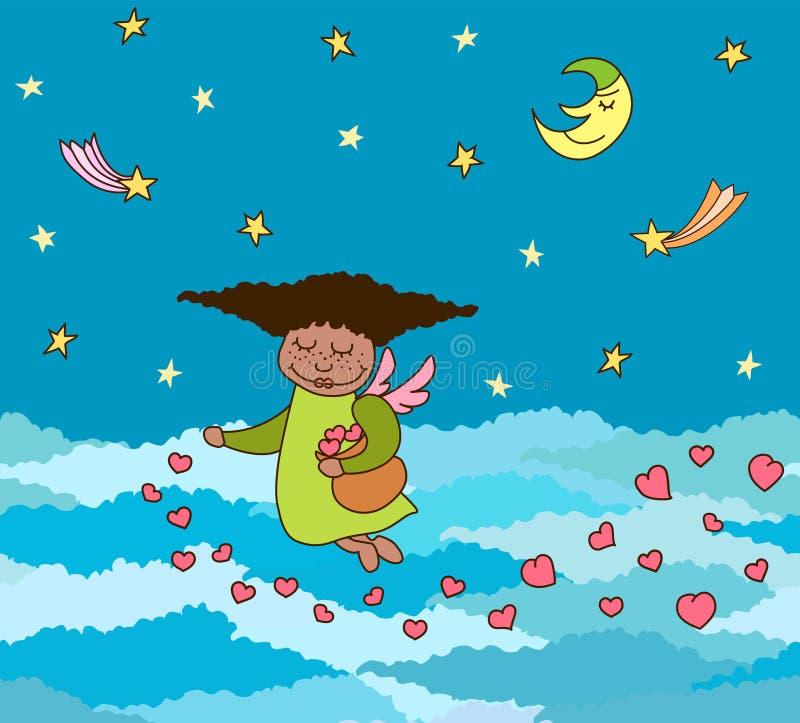 Vector la postal de volar poco ángel con los corazones sobre el cielo stock de ilustración