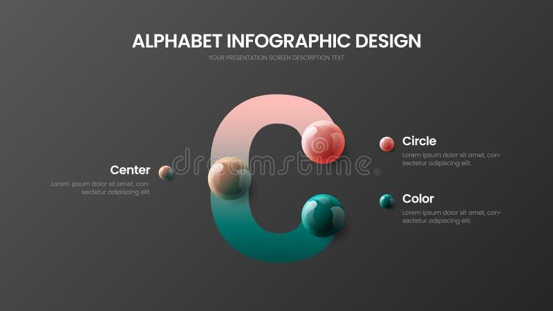 Vector la presentación colorida realista infographic de las bolas 3D del alfabeto Plantilla de la visualización de los gráficos d stock de ilustración